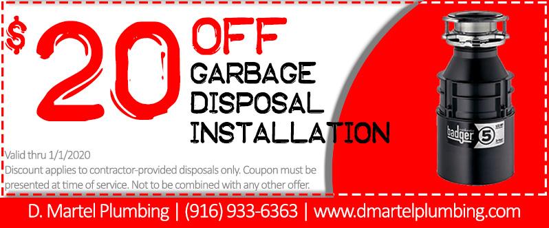 20 off garbage disposal installation coupon