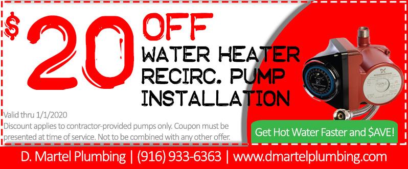 20 off water heater recirculating pump installation coupon