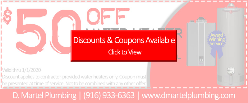 50 off water heater installation coupon faded