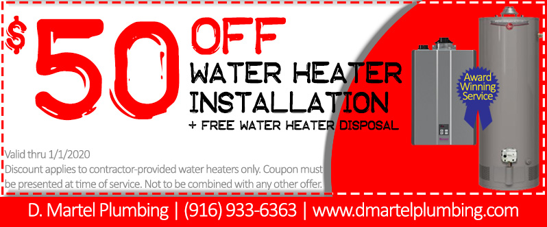 50 off water heater installation coupon with award